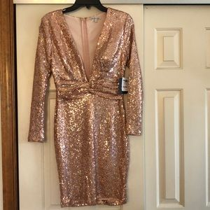 NWT Charlotte Russe Rose Gold Sequin Dress Sz S